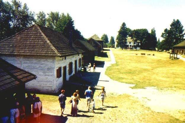 inside of Fort Langley with one original late 1850s building & some reconstructions