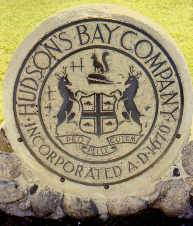 crest of the Hudson's Bay Company on a concrete disk