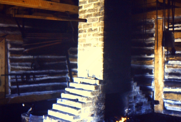blacksmith forge in operation at Lower Fort Garry