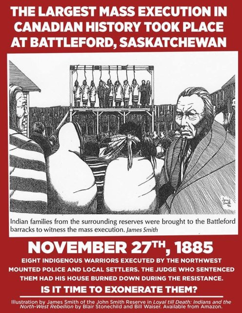 poster by James Smith showing First Nations people witnessing the mass hanging